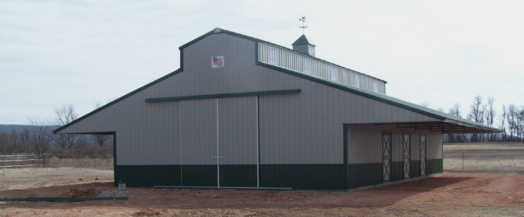 Gray 36 x 60 x 12 Horse Barn AMKO Buildings www.amkobldgs.com